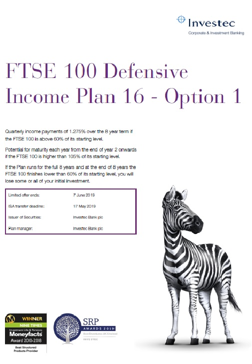 Investec FTSE 100 Defensive Income Plan 16 - Option 1