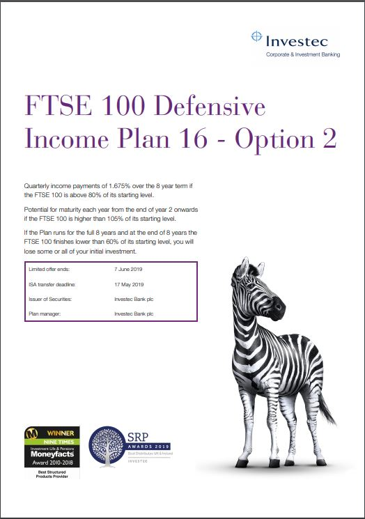 Investec FTSE 100 Defensive Income Plan 16 - Option 2