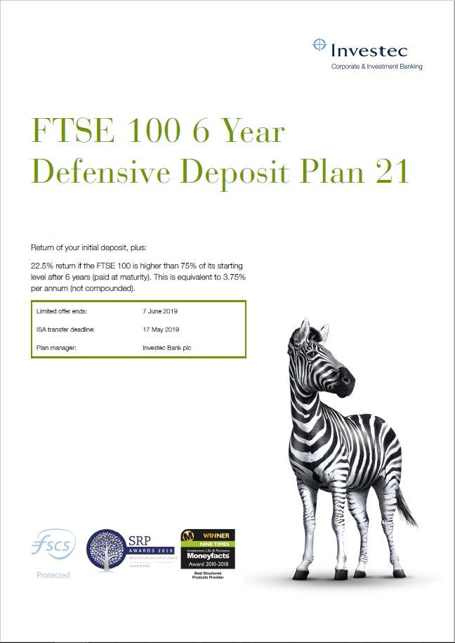 Investec FTSE 100 6 Year Defensive Deposit Plan 21