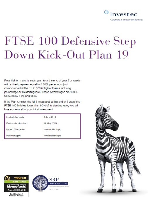 Investec FTSE 100 Defensive Step Down Kick Out Plan 19
