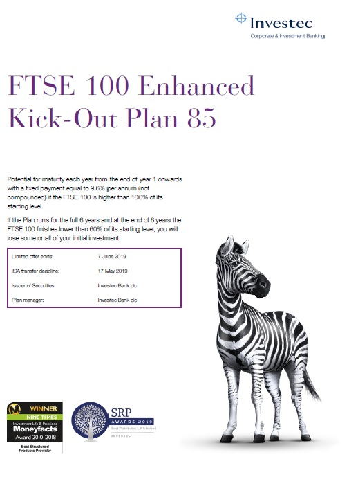 Investec FTSE 100 Enhanced Kick-Out Plan 85