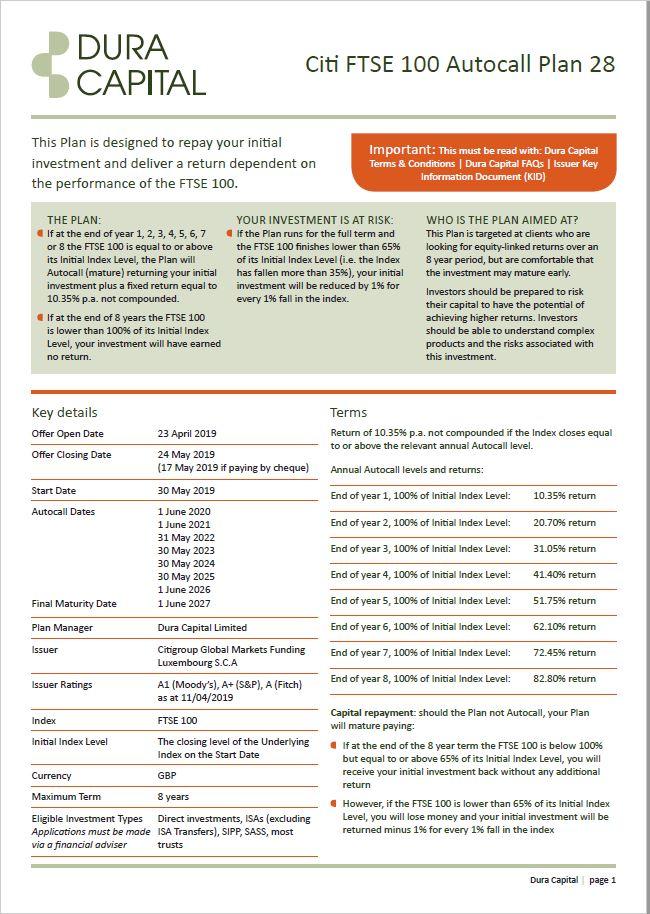 Dura Capital Citi FTSE 100 Autocall Plan 28
