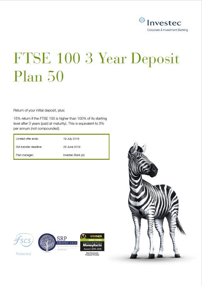 Investec FTSE 100 3 Year Deposit Plan 50