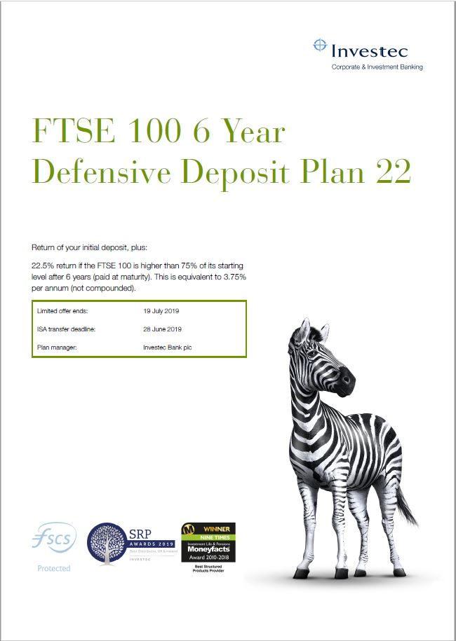 Investec FTSE 100 6 Year Defensive Deposit Plan 22