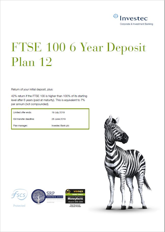 Investec FTSE 100 6 Year Deposit Plan 12