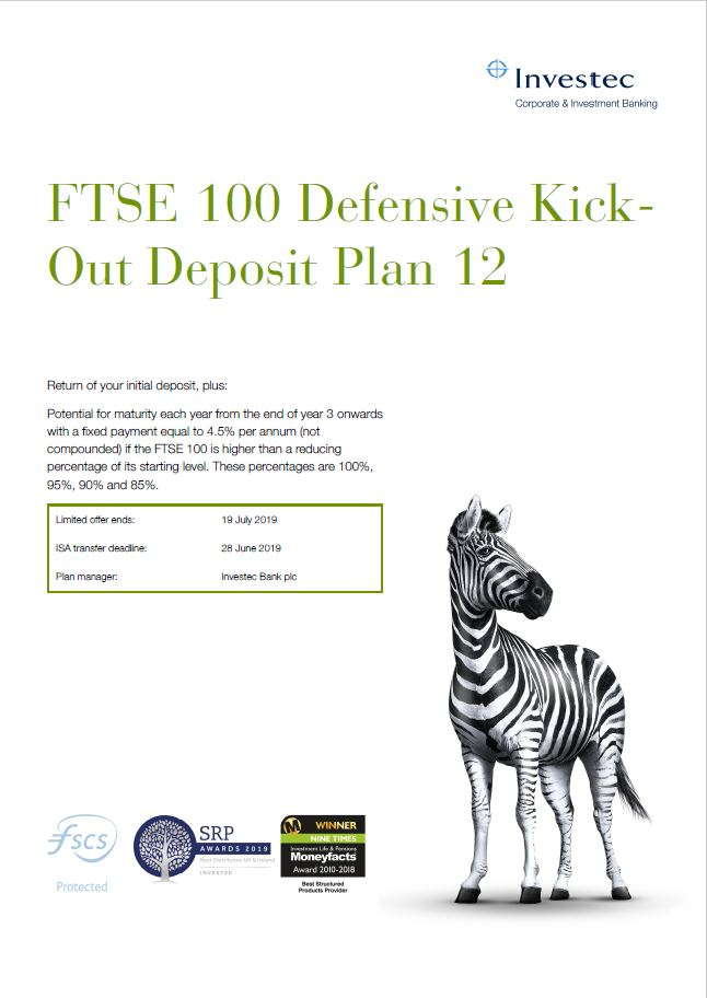 Investec FTSE 100 Defensive Kick-Out Deposit Plan 12