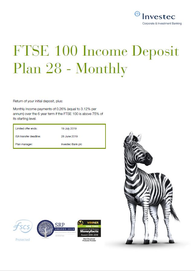 Investec FTSE 100 Income Deposit Plan 28 - Monthly