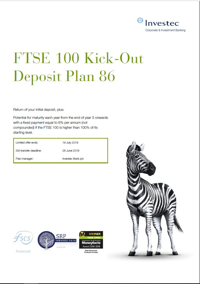 Investec FTSE 100 Kick-Out Deposit Plan 86