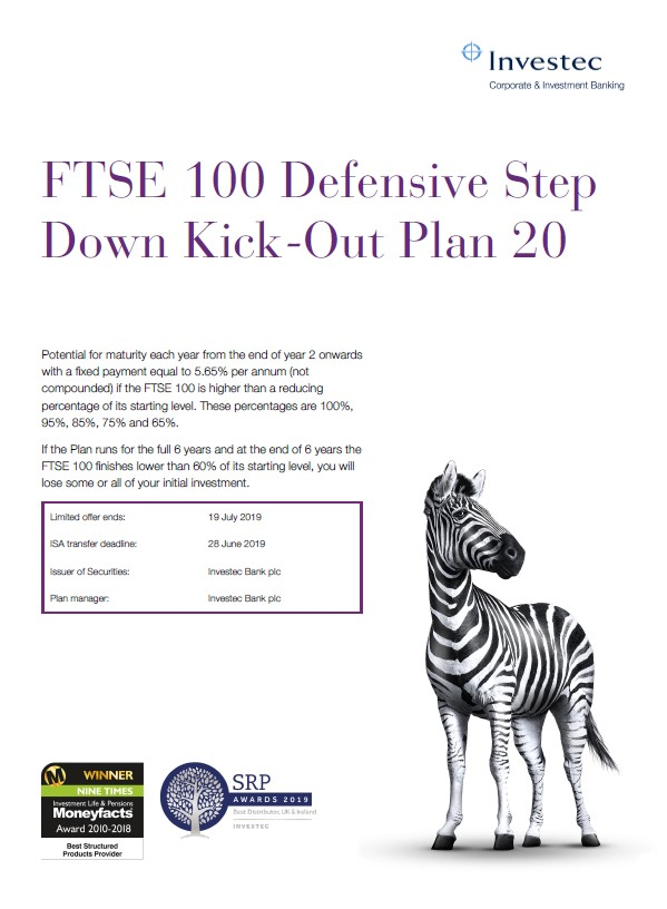 Investec FTSE 100 Defensive Step Down Kick Out Plan 20