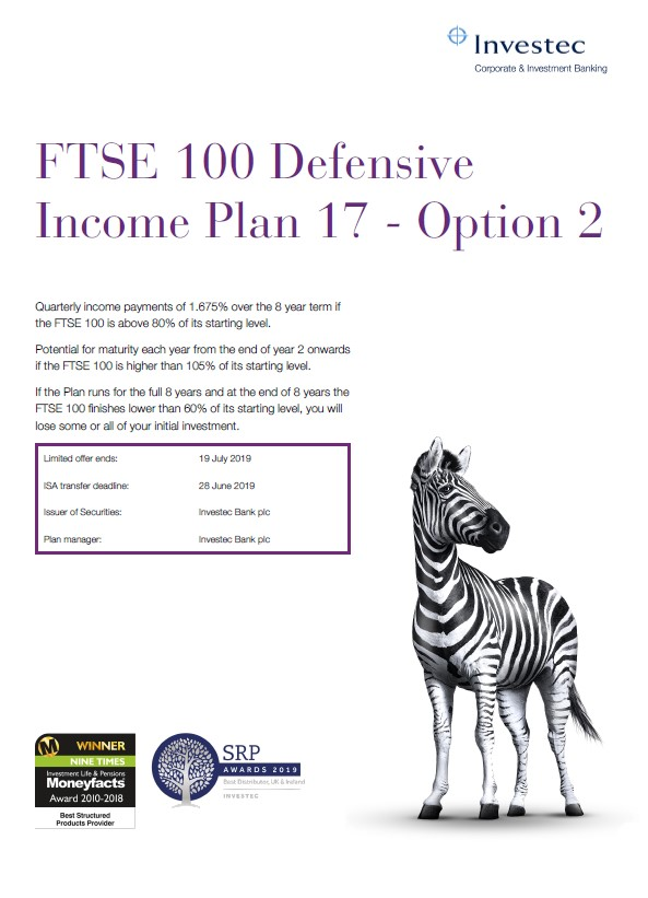Investec FTSE 100 Defensive Income Plan 17 - Option 2