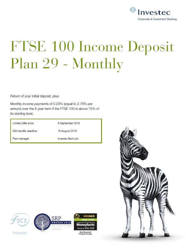 Investec FTSE 100 Income Deposit Plan 29 - Monthly