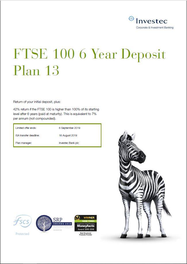Investec FTSE 100 6 Year Deposit Plan 13