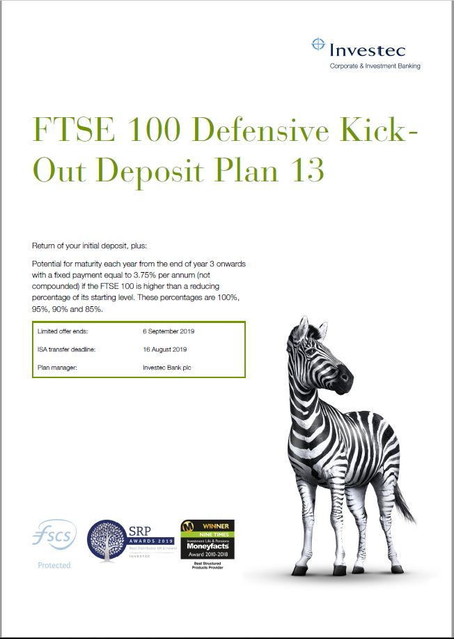 Investec FTSE 100 Defensive Kick-Out Deposit Plan 13