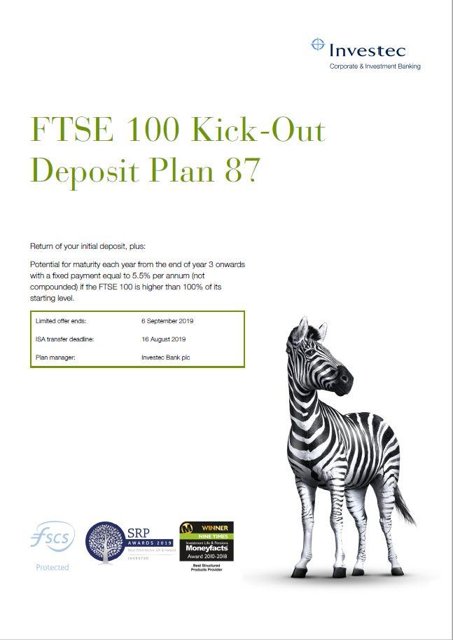 Investec FTSE 100 Kick-Out Deposit Plan 87