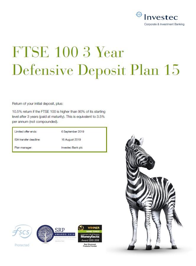 Investec FTSE 100 3 Year Defensive Deposit Plan 15