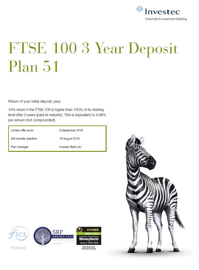 Investec FTSE 100 3 Year Deposit Plan 51