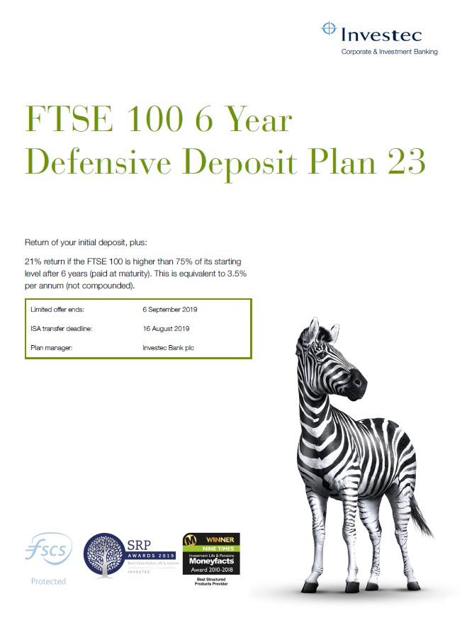 Investec FTSE 100 6 Year Defensive Deposit Plan 23