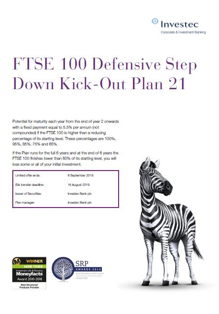 Investec FTSE 100 Defensive Step Down Kick Out Plan 21
