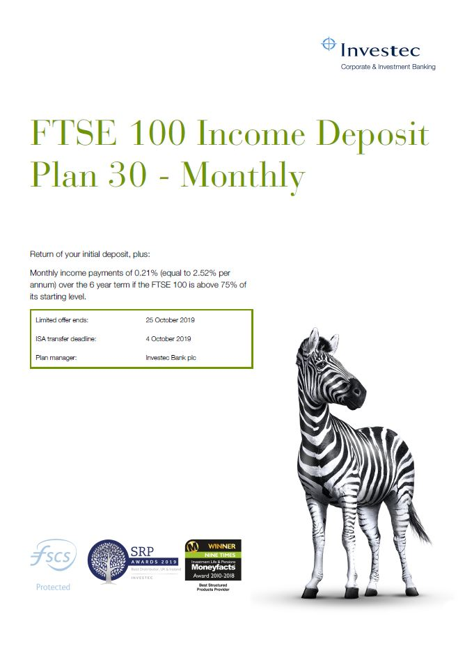 Investec FTSE 100 Income Deposit Plan 30 - Monthly