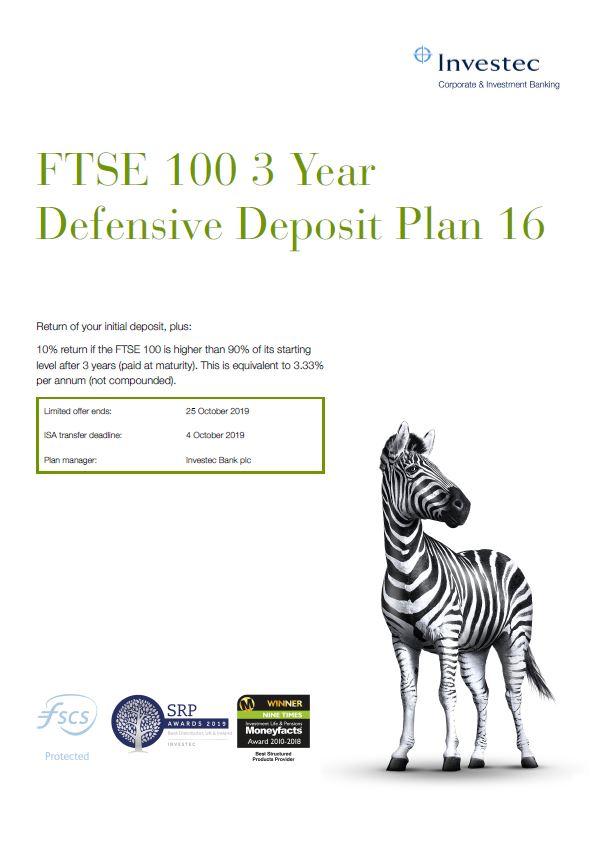 Investec FTSE 100 3 Year Defensive Deposit Plan 16