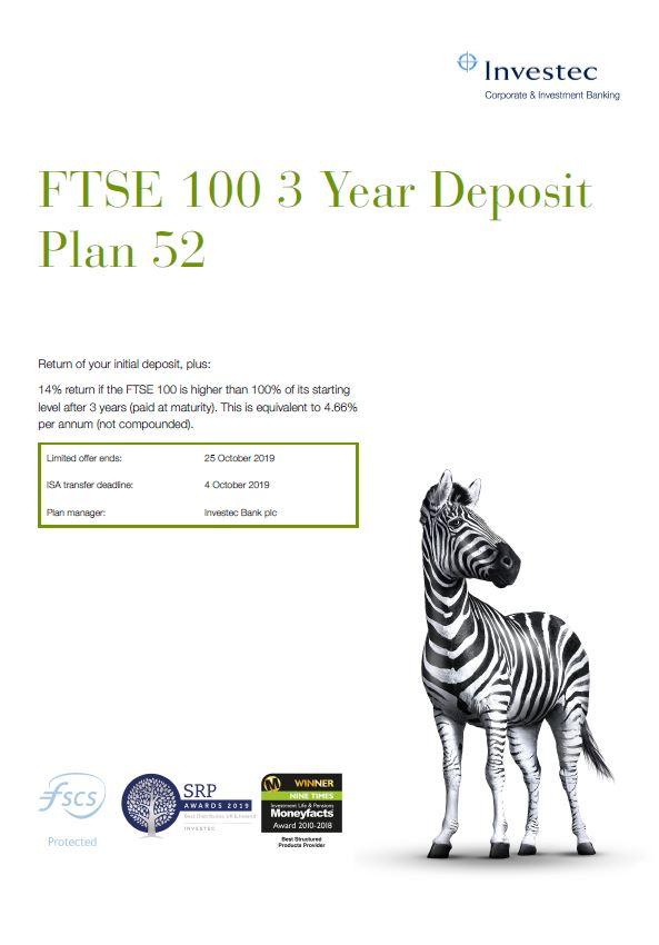 Investec FTSE 100 3 Year Deposit Plan 52