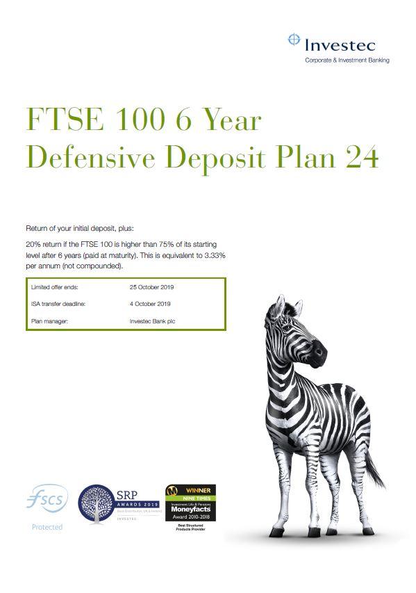 Investec FTSE 100 6 Year Defensive Deposit Plan 24
