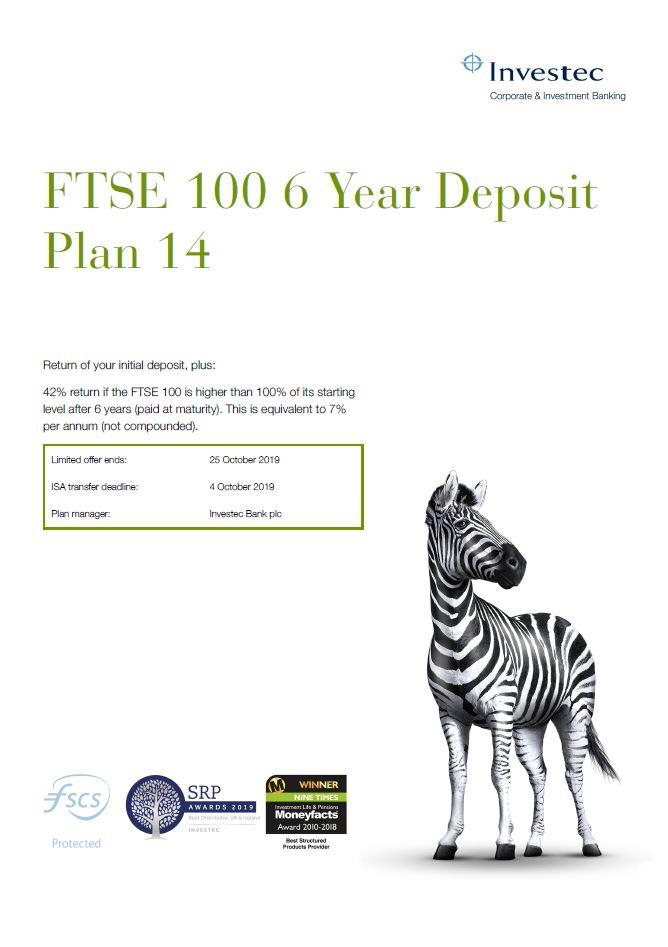 Investec FTSE 100 6 Year Deposit Plan 14