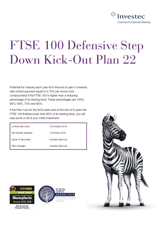 Investec FTSE 100 Defensive Step Down Kick Out Plan 22