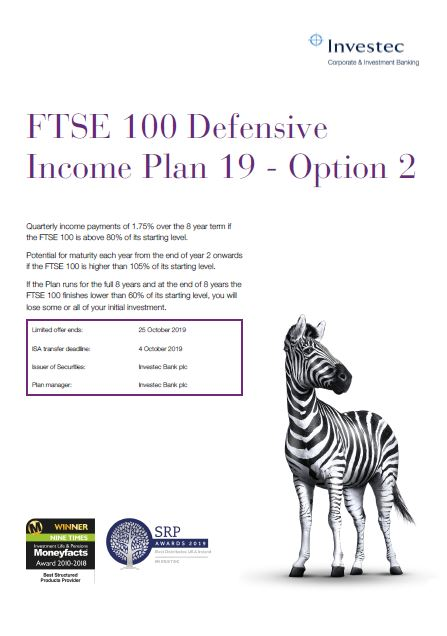 Investec FTSE 100 Defensive Income Plan 19 - Option 2