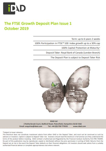IDAD The FTSE Growth Deposit Plan Issue 1 October 2019
