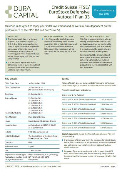 Dura Capital Credit Suisse FTSE/EuroStoxx Defensive Autocall Plan 33