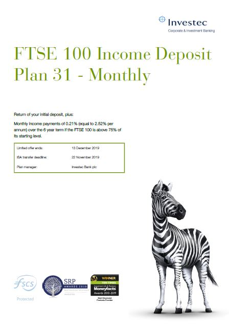 Investec FTSE 100 Income Deposit Plan 31 - Monthly