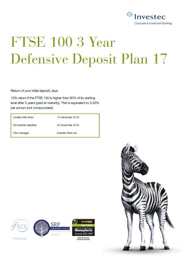 Investec FTSE 100 3 Year Defensive Deposit Plan 17