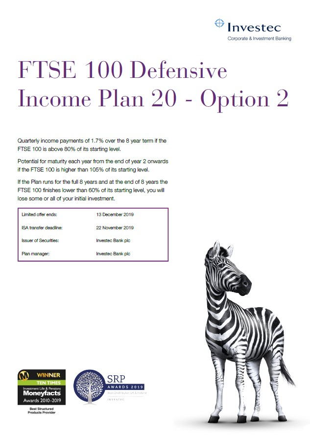 Investec FTSE 100 Defensive Income Plan 20 - Option 2