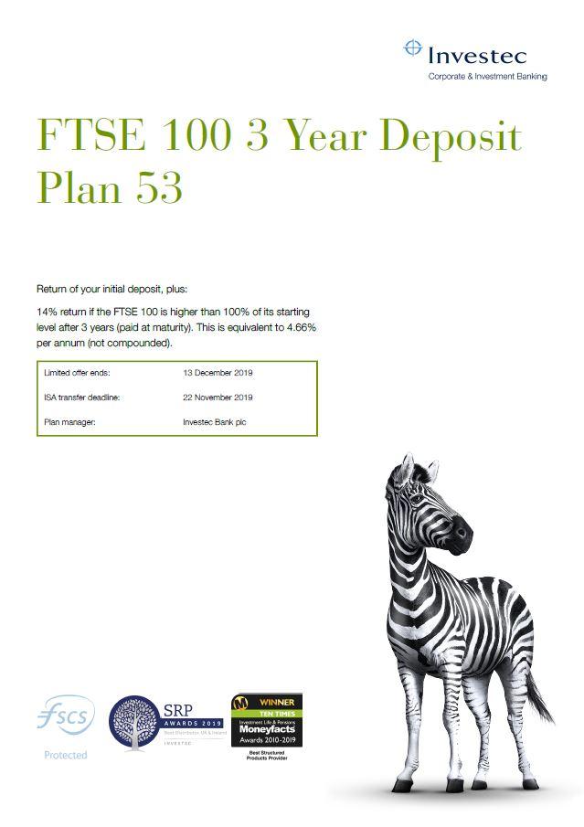 Investec FTSE 100 3 Year Deposit Plan 53