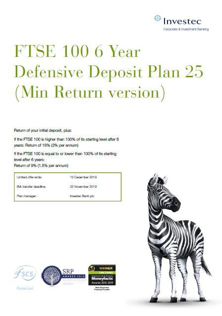 Investec FTSE 100 6 Year Defensive Deposit Plan 25 (Min Return version)