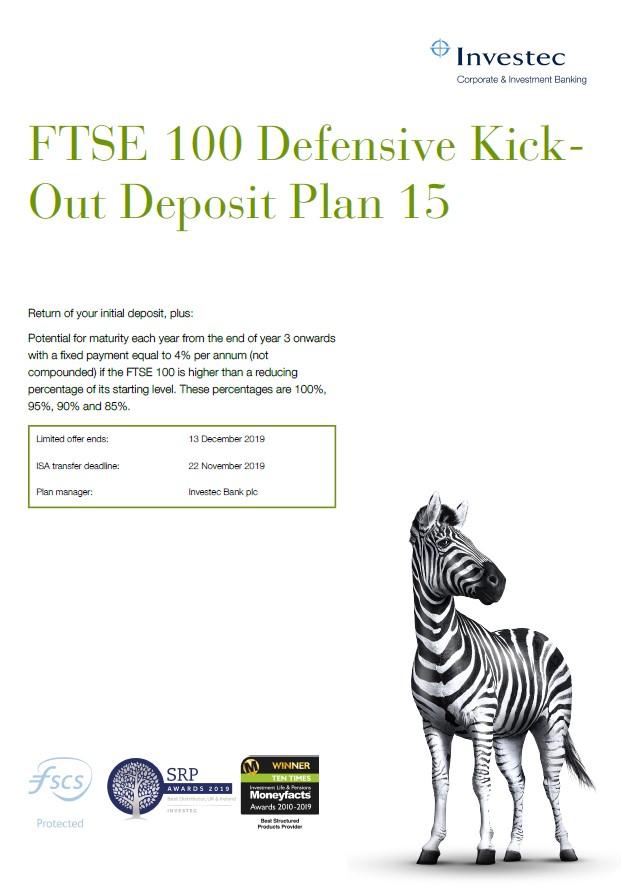 Investec FTSE 100 Defensive Kick-Out Deposit Plan 15