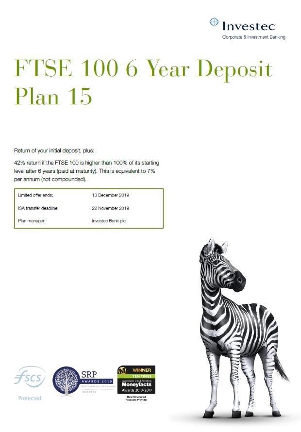 Investec FTSE 100 6 Year Deposit Plan 15