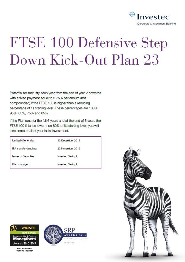 Investec FTSE 100 Defensive Step Down Kick Out Plan 23