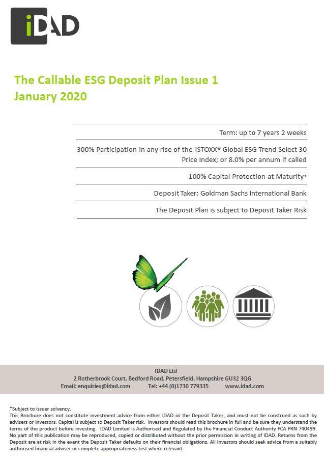 IDAD The Callable ESG Deposit Plan Issue 1 January 2020