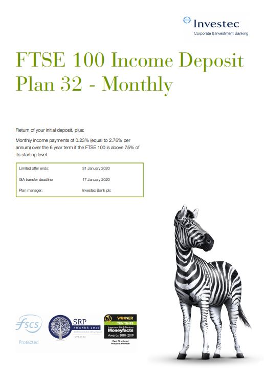 Investec FTSE 100 Income Deposit Plan 32 - Monthly