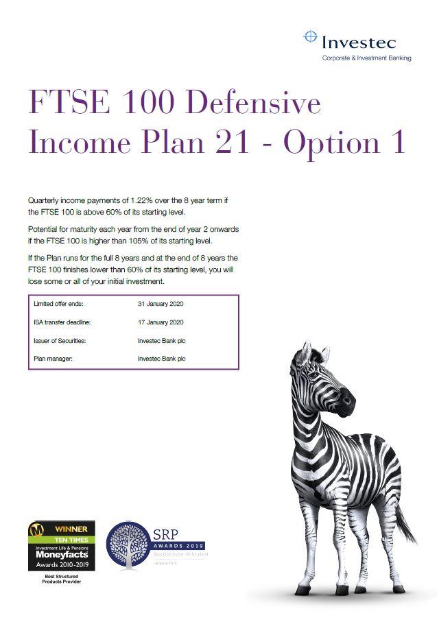 Investec FTSE 100 Defensive Income Plan 21 - Option 1