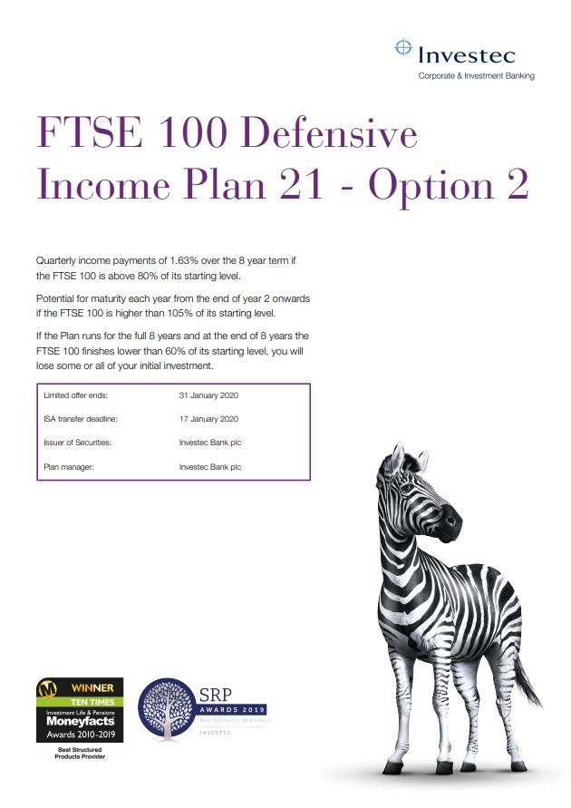 Investec FTSE 100 Defensive Income Plan 21 - Option 2