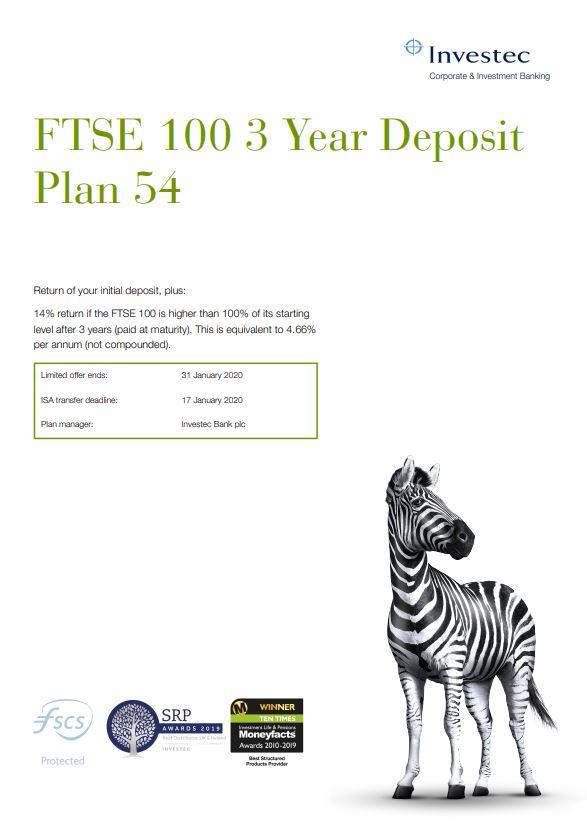 Investec FTSE 100 3 Year Deposit Plan 54