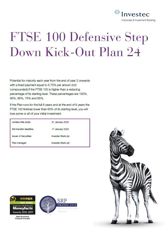 Investec FTSE 100 Defensive Step Down Kick Out Plan 24