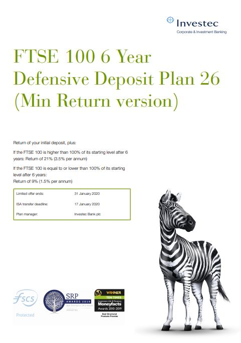 Investec FTSE 100 6 Year Defensive Deposit Plan 26 (Min Return version)