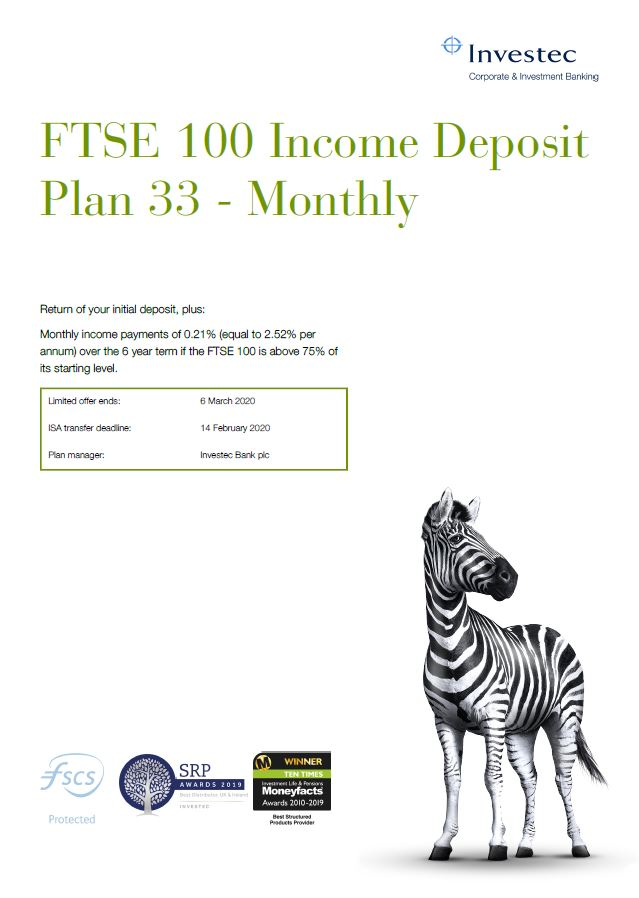 Investec FTSE 100 Income Deposit Plan 33 - Monthly