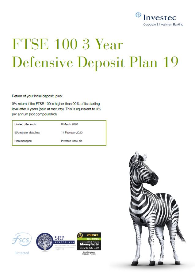 Investec FTSE 100 3 Year Defensive Deposit Plan 19