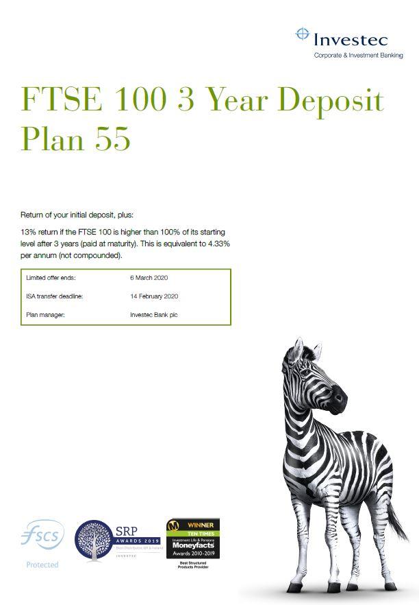 Investec FTSE 100 3 Year Deposit Plan 55
