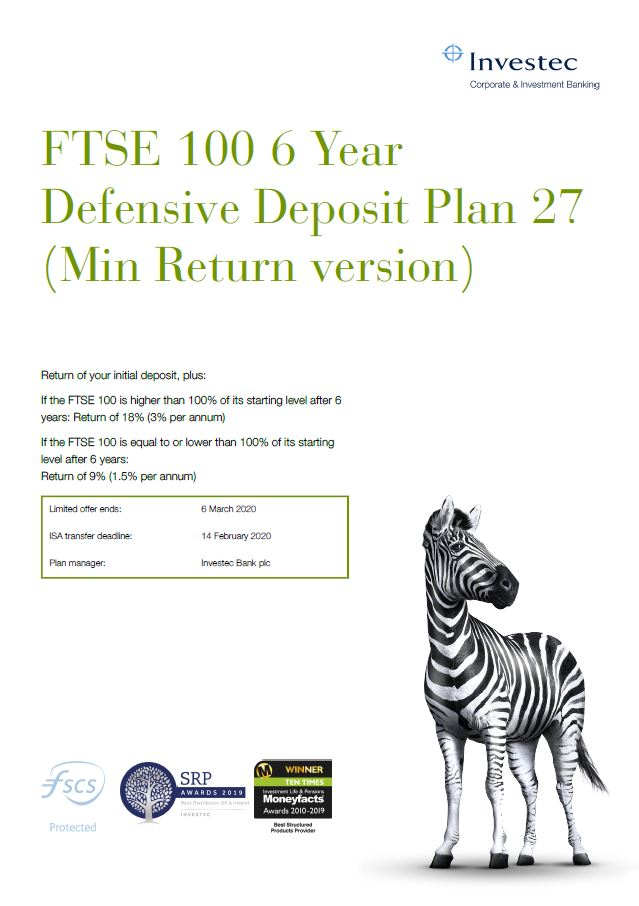 Investec FTSE 100 6 Year Defensive Deposit Plan 27 (Min Return version)